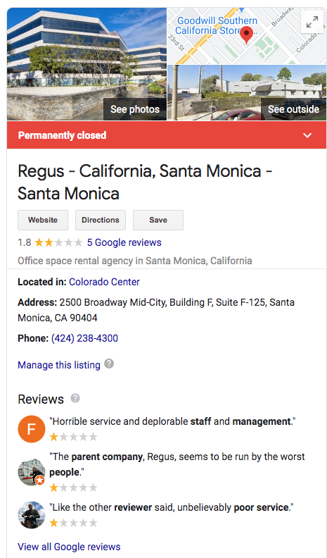 Regus : IWCPLC Permanently Closes Locations as they Struggle with Clients and Unscrupulous Employees like Adam Mazza 33
